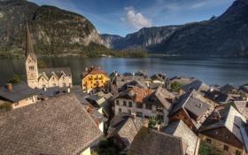 Обои озеро, холмы, крыши, городок, часовня, Austria, Hallstatt