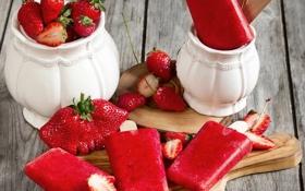 Картинка ягоды, клубника, мороженое, десерт