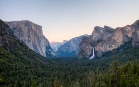 Картинка Yosemite National Park, долина, Калифорния, Национальный парк Йосемити, California, Sierra Nevada mountains