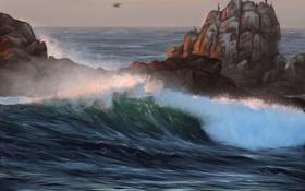 Обои скалы, природа, арт, волна, птицы, море
