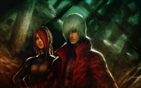 Обои Dante, Lucia, Devil may cry, парень, арт, девушка