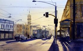 Обои свет, город, улица, провода, часы, башня, картина