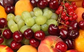 Картинка яблоко, апельсин, виноград, персики, смородина, черешня