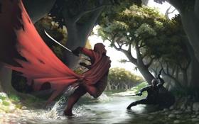 Обои лес, река, оружие, арт, сражение, мечи