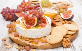 Картинка виноград, мед, еда, сыр, орехи, печенье, инжир
