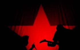 Обои красный, музыка, черный, звезда, рок