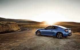 Картинка Солнце, Дорога, Синий, Subaru, Свет, BRZ