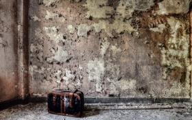 Картинка комната, стена, чемодан