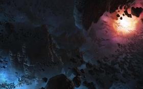 Обои космос, звезды, туманность, пространство, камни, звезда, планеты