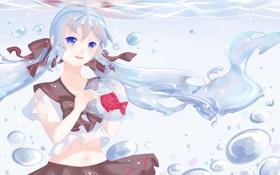 Обои вода, девушка, пузыри, рыбка, арт, бантики, vocaloid