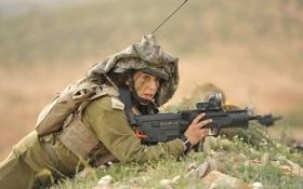 Обои девушка, оружие, солдат, Israeli Defence Force