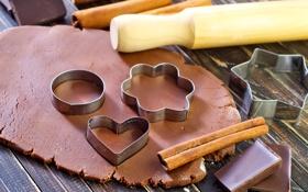 Обои шоколад, палочки, корица, выпечка, дольки, тесто, формочки