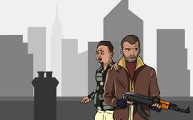 Обои Grand Theft Auto IV, Нико Беллик, калаш, Роман Беллик, Liberty City