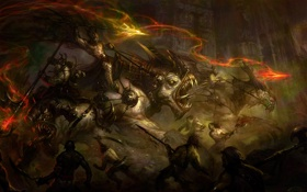 Обои Бой, Демоны, Схватка, Атака