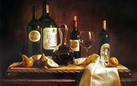 Картинка стол, вино, рисунок, картина, натюрморт, репродукция, груши
