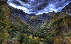 Картинка облака, деревья, горы, скалы, обработка, ущелье, Испания
