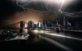Обои стихия, ночь, Brooklyn Bridge Park, New York, молнии