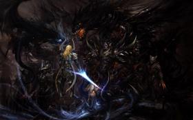 Картинка свет, магия, драконы, меч, доспехи, Воин, схватка