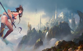 Картинка девушка, пейзаж, город, скала, замок, меч, крепость