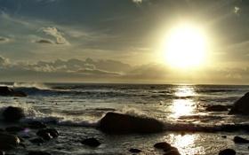 Обои пейзаж, солнце пляж прилив