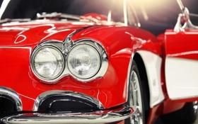 Обои макро, красный, фары, тюнинг, corvette, шевроле, классика