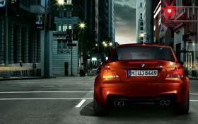 Картинка BMW, (E82), фонарные столбы, светофор, улица, M Coupe, город