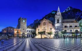 Картинка ночь, огни, башня, гора, площадь, фонари, Италия