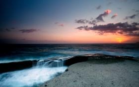Картинка море, небо, закат, волна