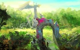 Обои зелень, деревья, люди, Природа, арка, статуя, живопись