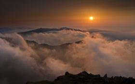 Картинка облака, закат, горы, Англия, England, Wales, Snowdon