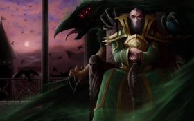 Обои монстр, арт, мужчина, трон, league of legends, swain