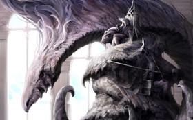 Обои дракон, монстр, арт, парень, трон, Lee Sung-jae