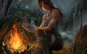 Картинка tomb raider, лук, девушка, костер, lara croft, раны, огонь