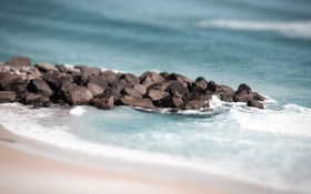 Обои песок, камни, вода, волны, берег