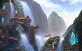 Картинка город, скалы, водопад, арка, кристаллы, League Of Legends