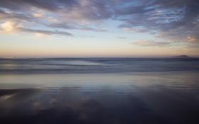 Обои море, облака, отражение, рассвет, штиль