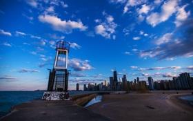 Картинка city, огни, небоскребы, вечер, панорама, USA, америка