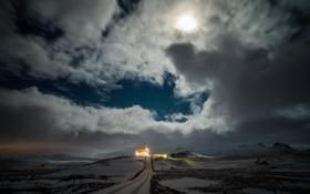 Картинка дорога, облака, свет, луна, холм, церковь