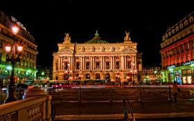 Картинка дома, Париж, Франция, театр, ночь, огни, опера