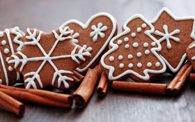 Обои палочки, печенье, корица, фигурки, выпечка, новогоднее