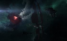 Обои космос, туманность, космические корабли, EVE online, space ship