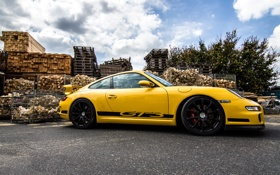 Картинка 911, 997, Porsche, sky, yellow, wood, GT3