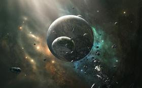 Обои метеоры, Spectrum V, планеты, камни