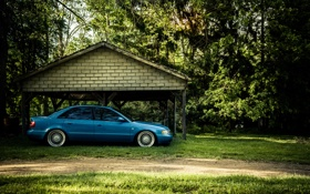 Картинка Audi, ауди, тюнинг, профиль, синяя, blue, stance