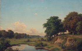 Обои Орловский, Orlovsky, живопись, Пейзаж с прудиком