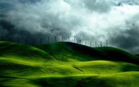 Картинка небо, ветряки, тучи, холмы