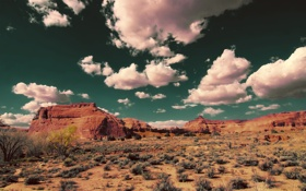 Обои небо, облака, скалы, пустыня, сша, юта