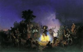 Картинка девушка, огонь, праздник, картина, фольклор, Ночь на Ивана Купалу, Соколов Иван