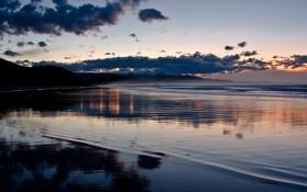 Картинка море, пляж, небо, огни, фон, обои, побережье