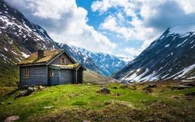 Картинка ice, mountains, wood, hut, snow, rocks